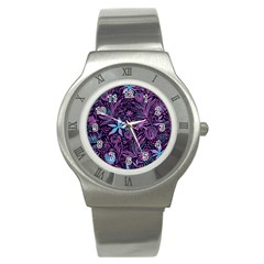 Stamping Pattern Leaves Drawing Stainless Steel Watch by Sapixe