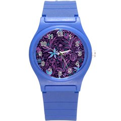 Stamping Pattern Leaves Drawing Round Plastic Sport Watch (s)