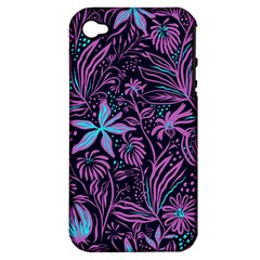 Stamping Pattern Leaves Drawing Apple Iphone 4/4s Hardshell Case (pc+silicone) by Sapixe