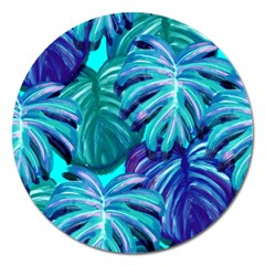 Leaves Tropical Palma Jungle Magnet 5  (round) by Sapixe