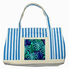 Leaves Tropical Palma Jungle Striped Blue Tote Bag by Sapixe