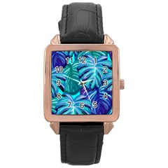 Leaves Tropical Palma Jungle Rose Gold Leather Watch  by Sapixe