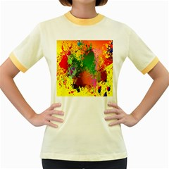 Embroidery Dab Color Spray Women s Fitted Ringer T-shirt