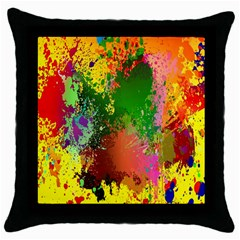 Embroidery Dab Color Spray Throw Pillow Case (black)
