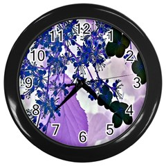 Blossom Bloom Floral Design Wall Clock (black) by Sapixe