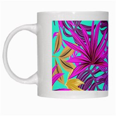 Tropical Greens Leaves Design White Mugs