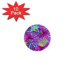 Tropical Greens Leaves Design 1  Mini Buttons (10 Pack)