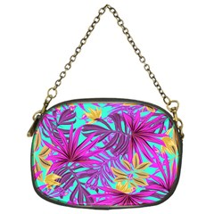 Tropical Greens Leaves Design Chain Purse (one Side)