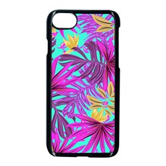 Tropical Greens Leaves Design Apple Iphone 8 Seamless Case (black)