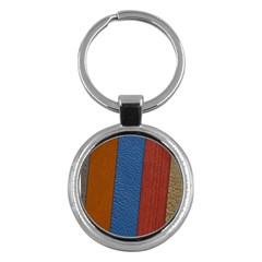 Leather Background Structure Orange Key Chains (round)