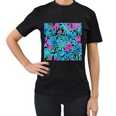 Leaves Picture Tropical Plant Women s T-shirt (black) (two Sided)