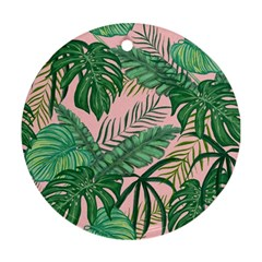 Tropical Greens Leaves Design Ornament (round)