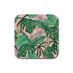 Tropical Greens Leaves Design Rubber Coaster (square)