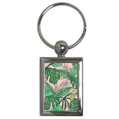 Tropical Greens Leaves Design Key Chains (rectangle)  by Sapixe