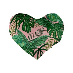 Tropical Greens Leaves Design Standard 16  Premium Heart Shape Cushions by Sapixe
