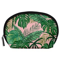 Tropical Greens Leaves Design Accessory Pouch (large) by Sapixe