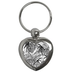 Drawing Leaves Nature Picture Key Chains (heart)  by Sapixe