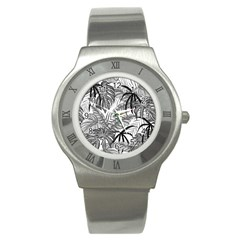 Drawing Leaves Nature Picture Stainless Steel Watch by Sapixe