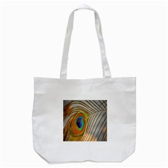 Peacock Feather Feather Bird Tote Bag (white)