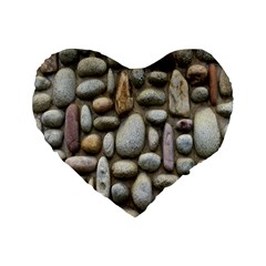 The Stones Facade Wall Building Standard 16  Premium Flano Heart Shape Cushions by Sapixe