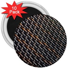 Rattan Wood Background Pattern 3  Magnets (10 Pack)