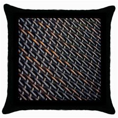 Rattan Wood Background Pattern Throw Pillow Case (black) by Sapixe