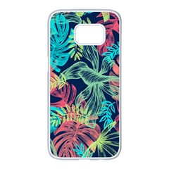Leaves Tropical Picture Plant Samsung Galaxy S7 Edge White Seamless Case