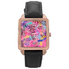 Illustration Reason Leaves Design Rose Gold Leather Watch  by Sapixe