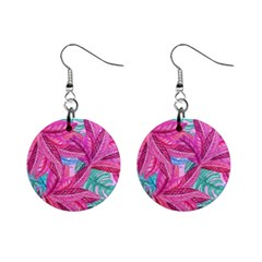 Leaves Tropical Reason Stamping Mini Button Earrings