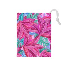 Leaves Tropical Reason Stamping Drawstring Pouch (medium)