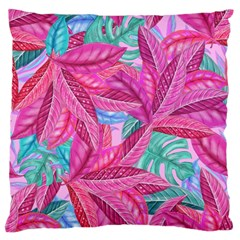 Leaves Tropical Reason Stamping Standard Flano Cushion Case (one Side) by Sapixe