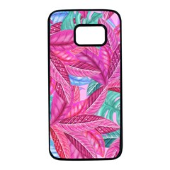 Leaves Tropical Reason Stamping Samsung Galaxy S7 Black Seamless Case