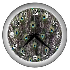 Background Peacock Feathers Wall Clock (silver)