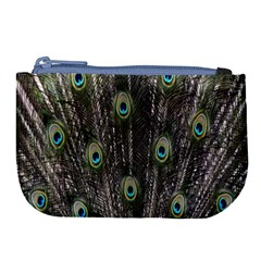Background Peacock Feathers Large Coin Purse