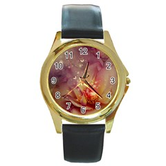 Wonderful Roses With Butterflies And Light Effects Round Gold Metal Watch by FantasyWorld7