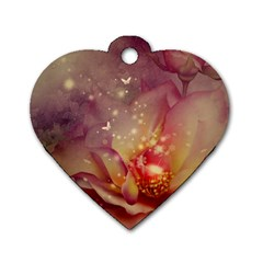 Wonderful Roses With Butterflies And Light Effects Dog Tag Heart (one Side) by FantasyWorld7