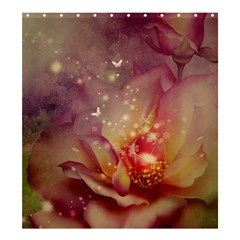 Wonderful Roses With Butterflies And Light Effects Shower Curtain 66  X 72  (large)  by FantasyWorld7