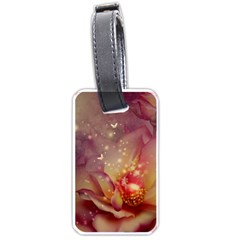 Wonderful Roses With Butterflies And Light Effects Luggage Tags (one Side)  by FantasyWorld7