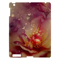 Wonderful Roses With Butterflies And Light Effects Apple Ipad 3/4 Hardshell Case by FantasyWorld7