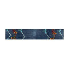 Blue Denim Pattern Native American Beads Pattern By Flipstylez Designs Flano Scarf (mini) by flipstylezdes