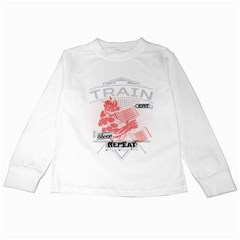 Train Eat Sleep Repeat Bodybuilding Fitness Powerlifting Weighlifting Kids Long Sleeve T-shirts by powerliftingcheck