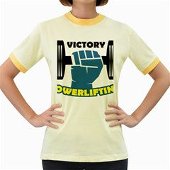Victory Bodybuilding Fitness Powerlifting Weighlifting Women s Fitted Ringer T Shirt by powerliftingcheck
