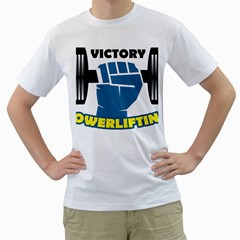 Victory Bodybuilding Fitness Powerlifting Weighlifting Men s T-shirt (white) (two Sided) by powerliftingcheck