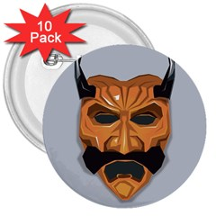 Mask India South Culture 3  Buttons (10 Pack)