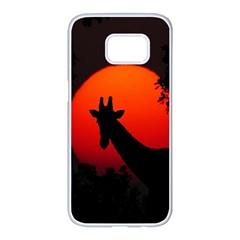 Giraffe Animal Africa Sunset Samsung Galaxy S7 Edge White Seamless Case