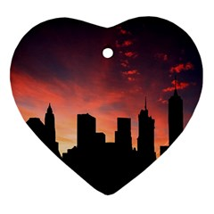 Skyline Panoramic City Architecture Ornament (heart) by Samandel
