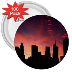 Skyline Panoramic City Architecture 3  Buttons (100 Pack)