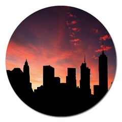 Skyline Panoramic City Architecture Magnet 5  (round) by Samandel