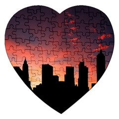 Skyline Panoramic City Architecture Jigsaw Puzzle (heart) by Samandel