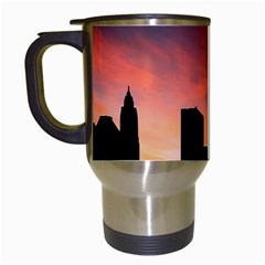 Skyline Panoramic City Architecture Travel Mugs (white) by Samandel